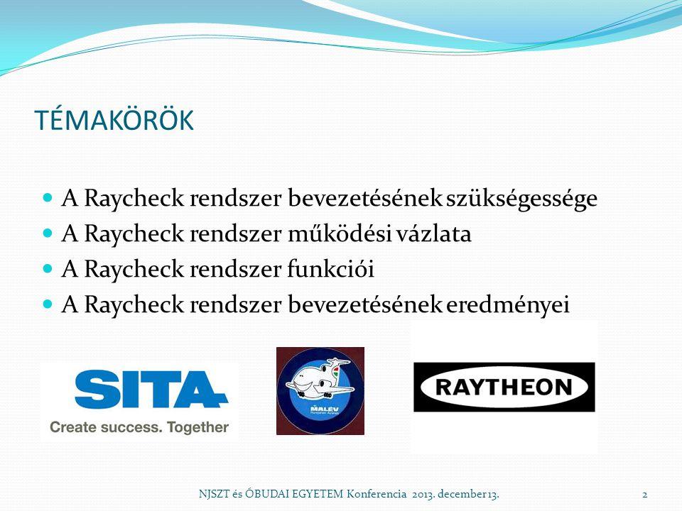 TÉMAKÖRÖK A Raycheck rendszer bevezetésének szükségessége A Raycheck rendszer működési vázlata A Raycheck rendszer funkciói A Raycheck rendszer bevezetésének eredményei NJSZT és ÓBUDAI EGYETEM Konferencia 2013.