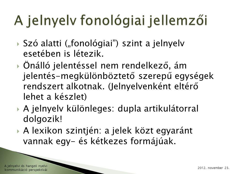 """ Szó alatti (""""fonológiai"""") szint a jelnyelv esetében is létezik.  Önálló jelentéssel nem rendelkező, ám jelentés-megkülönböztető szerepű egységek re"""