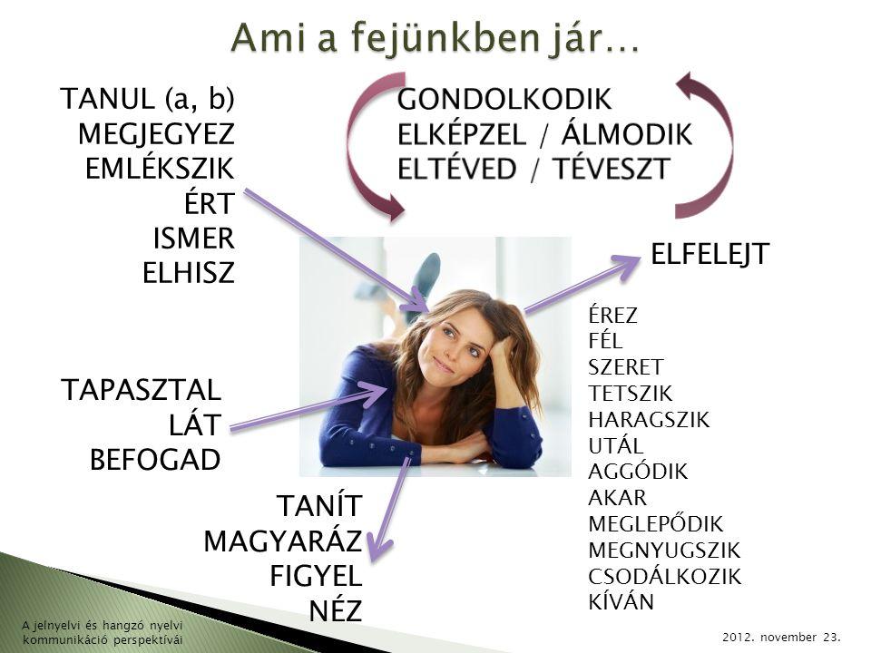 2012. november 23. A jelnyelvi és hangzó nyelvi kommunikáció perspektívái TANUL (a, b) MEGJEGYEZ EMLÉKSZIK ÉRT ISMER ELHISZ ELFELEJT TAPASZTAL LÁT BEF