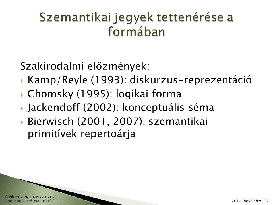 Szakirodalmi előzmények:  Kamp/Reyle (1993): diskurzus-reprezentáció  Chomsky (1995): logikai forma  Jackendoff (2002): konceptuális séma  Bierwisch (2001, 2007): szemantikai primitívek repertoárja 2012.