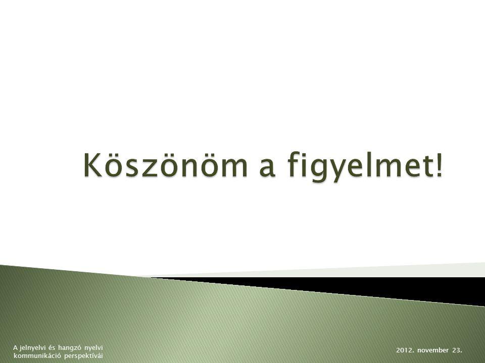 2012. november 23. A jelnyelvi és hangzó nyelvi kommunikáció perspektívái