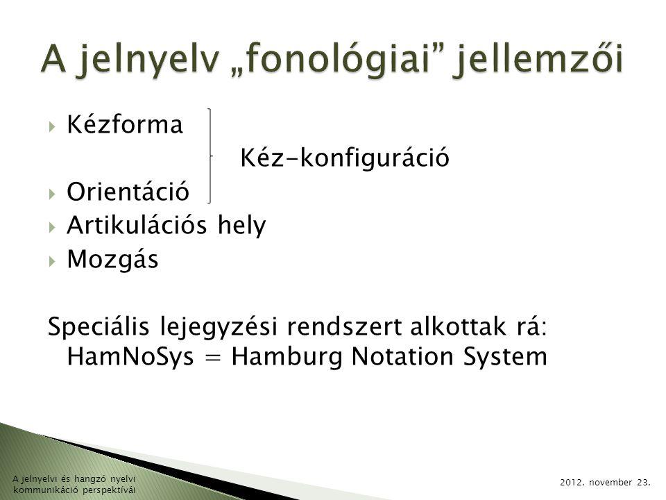  Kézforma Kéz-konfiguráció  Orientáció  Artikulációs hely  Mozgás Speciális lejegyzési rendszert alkottak rá: HamNoSys = Hamburg Notation System 2
