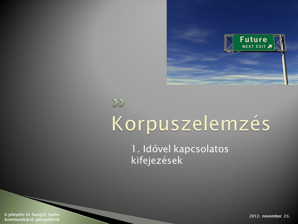 1. Idővel kapcsolatos kifejezések 2012. november 23. A jelnyelvi és hangzó nyelvi kommunikáció perspektívái