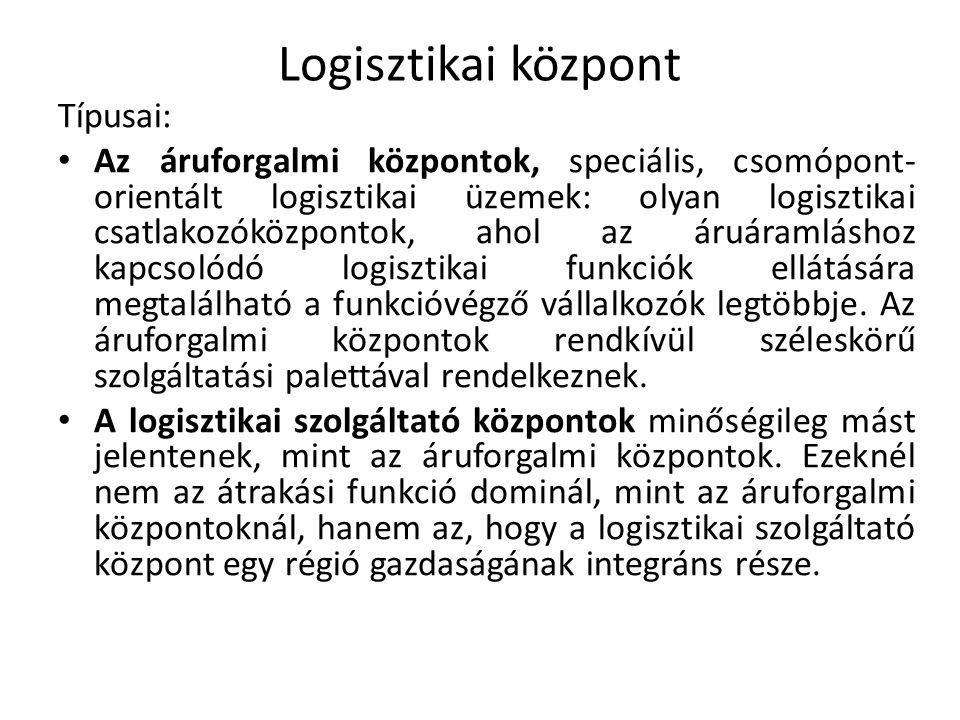 Logisztikai központ Típusai: Az áruforgalmi központok, speciális, csomópont- orientált logisztikai üzemek: olyan logisztikai csatlakozóközpontok, ahol
