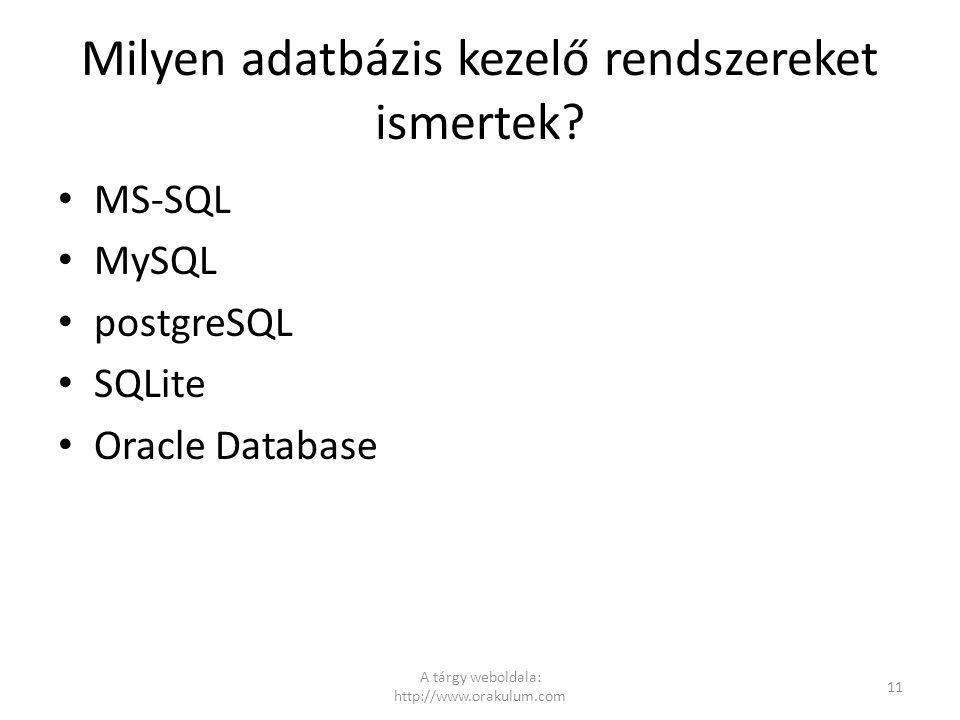 Milyen adatbázis kezelő rendszereket ismertek? MS-SQL MySQL postgreSQL SQLite Oracle Database A tárgy weboldala: http://www.orakulum.com 11