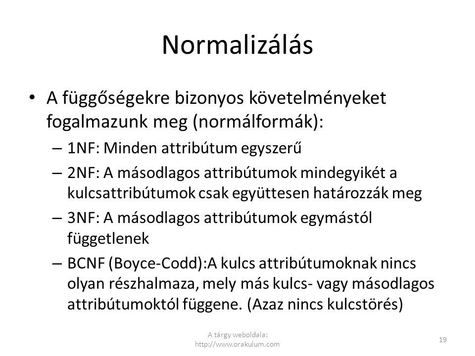 Normalizálás A függőségekre bizonyos követelményeket fogalmazunk meg (normálformák): – 1NF: Minden attribútum egyszerű – 2NF: A másodlagos attribútumo