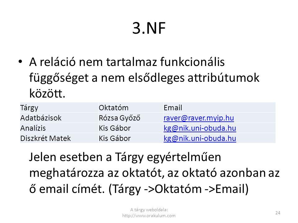 3.NF A reláció nem tartalmaz funkcionális függőséget a nem elsődleges attribútumok között. Jelen esetben a Tárgy egyértelműen meghatározza az oktatót,