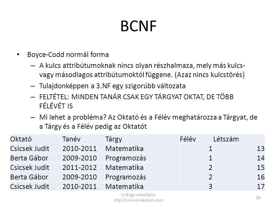 BCNF Boyce-Codd normál forma – A kulcs attribútumoknak nincs olyan részhalmaza, mely más kulcs- vagy másodlagos attribútumoktól függene. (Azaz nincs k