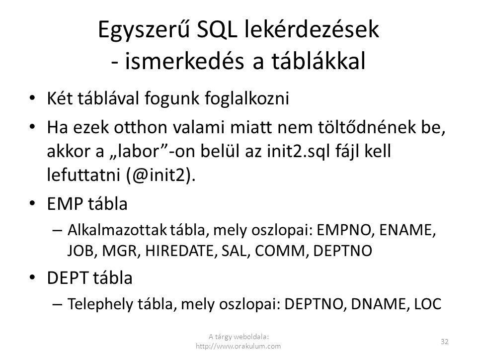 """Egyszerű SQL lekérdezések - ismerkedés a táblákkal Két táblával fogunk foglalkozni Ha ezek otthon valami miatt nem töltődnének be, akkor a """"labor""""-on"""