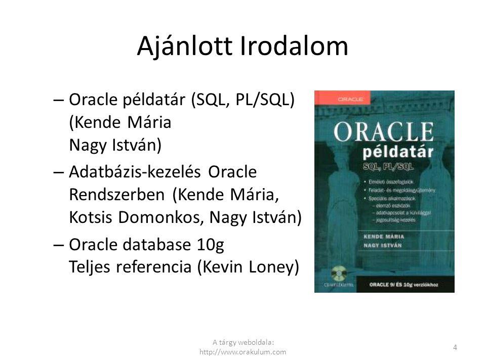 Ajánlott Irodalom – Oracle példatár (SQL, PL/SQL) (Kende Mária Nagy István) – Adatbázis-kezelés Oracle Rendszerben (Kende Mária, Kotsis Domonkos, Nagy
