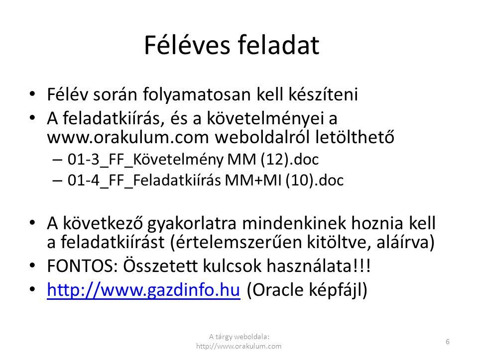 Féléves feladat Félév során folyamatosan kell készíteni A feladatkiírás, és a követelményei a www.orakulum.com weboldalról letölthető – 01-3_FF_Követe