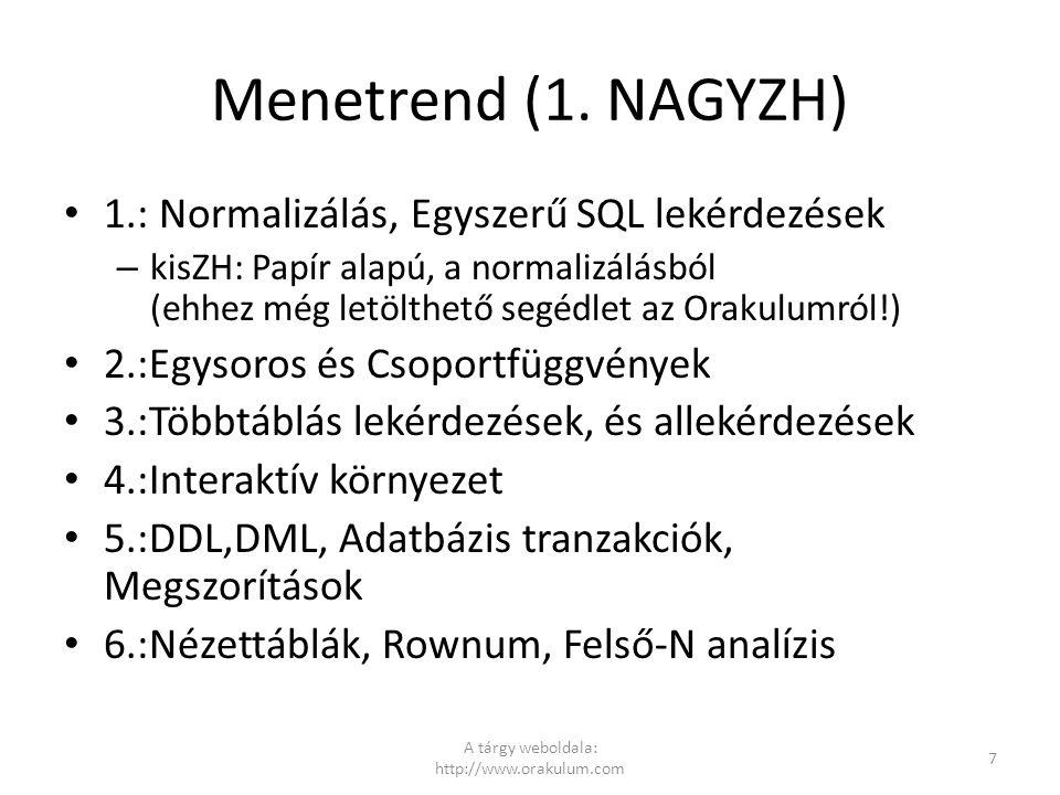Menetrend (1. NAGYZH) 1.: Normalizálás, Egyszerű SQL lekérdezések – kisZH: Papír alapú, a normalizálásból (ehhez még letölthető segédlet az Orakulumró