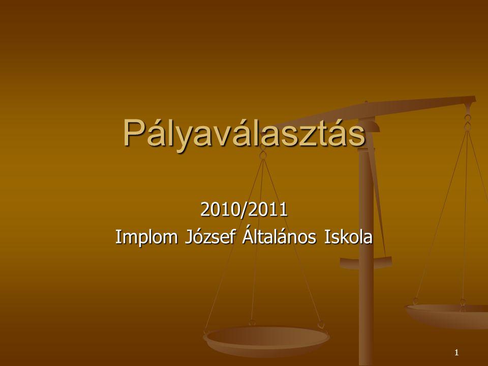 1 Pályaválasztás 2010/2011 Implom József Általános Iskola