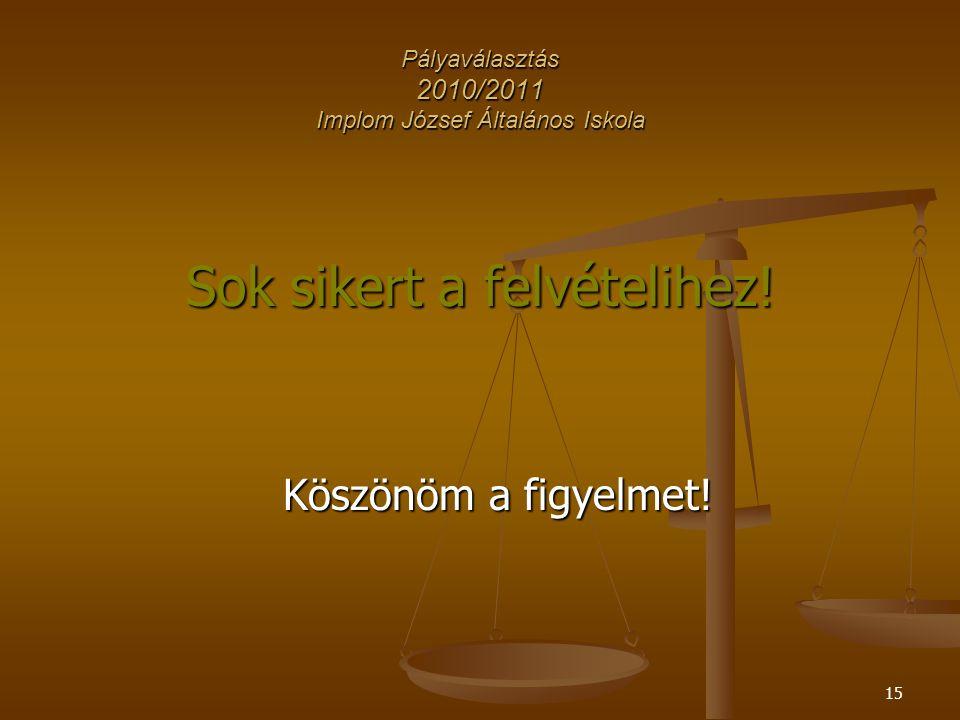 15 Pályaválasztás 2010/2011 Implom József Általános Iskola Sok sikert a felvételihez.