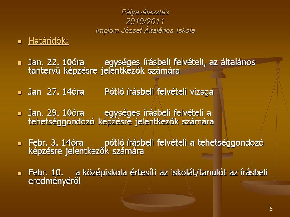 5 Pályaválasztás 2010/2011 Implom József Általános Iskola Határidők: Határidők: Jan.