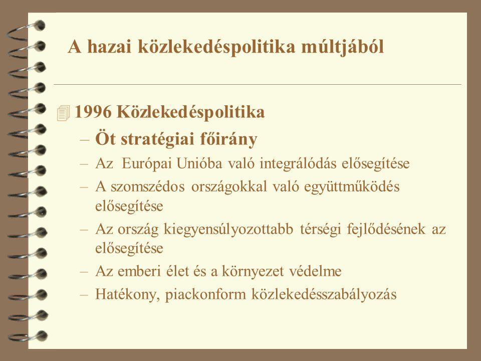 4 1996 Közlekedéspolitika –Öt stratégiai főirány –Az Európai Unióba való integrálódás elősegítése –A szomszédos országokkal való együttműködés elősegítése –Az ország kiegyensúlyozottabb térségi fejlődésének az elősegítése –Az emberi élet és a környezet védelme –Hatékony, piackonform közlekedésszabályozás A hazai közlekedéspolitika múltjából
