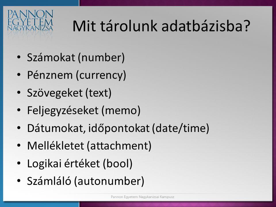 Mit tárolunk adatbázisba? Számokat (number) Pénznem (currency) Szövegeket (text) Feljegyzéseket (memo) Dátumokat, időpontokat (date/time) Mellékletet