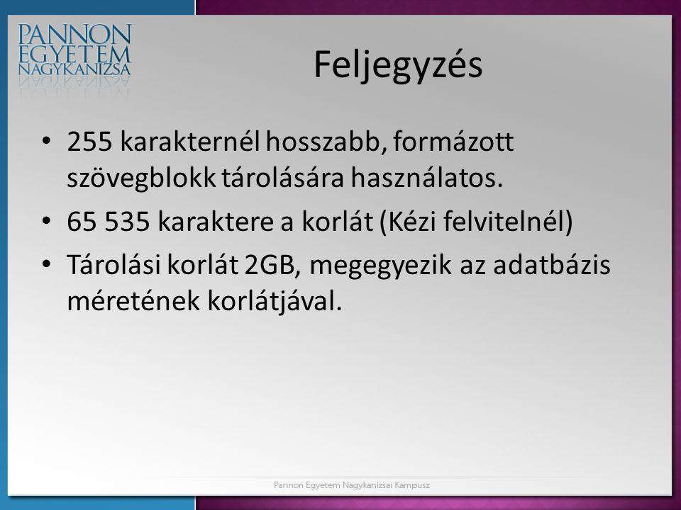 Feljegyzés 255 karakternél hosszabb, formázott szövegblokk tárolására használatos. 65 535 karaktere a korlát (Kézi felvitelnél) Tárolási korlát 2GB, m