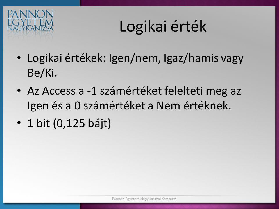 Logikai érték Logikai értékek: Igen/nem, Igaz/hamis vagy Be/Ki. Az Access a -1 számértéket felelteti meg az Igen és a 0 számértéket a Nem értéknek. 1