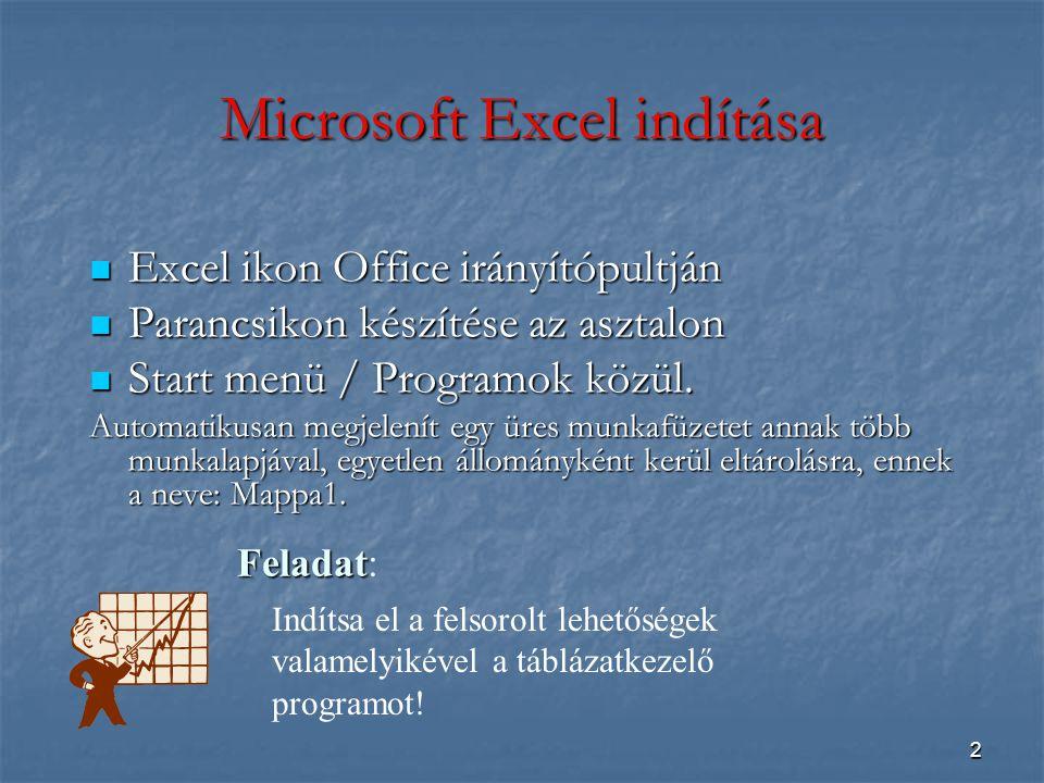 2 Microsoft Excel indítása Excel ikon Office irányítópultján Excel ikon Office irányítópultján Parancsikon készítése az asztalon Parancsikon készítése az asztalon Start menü / Programok közül.