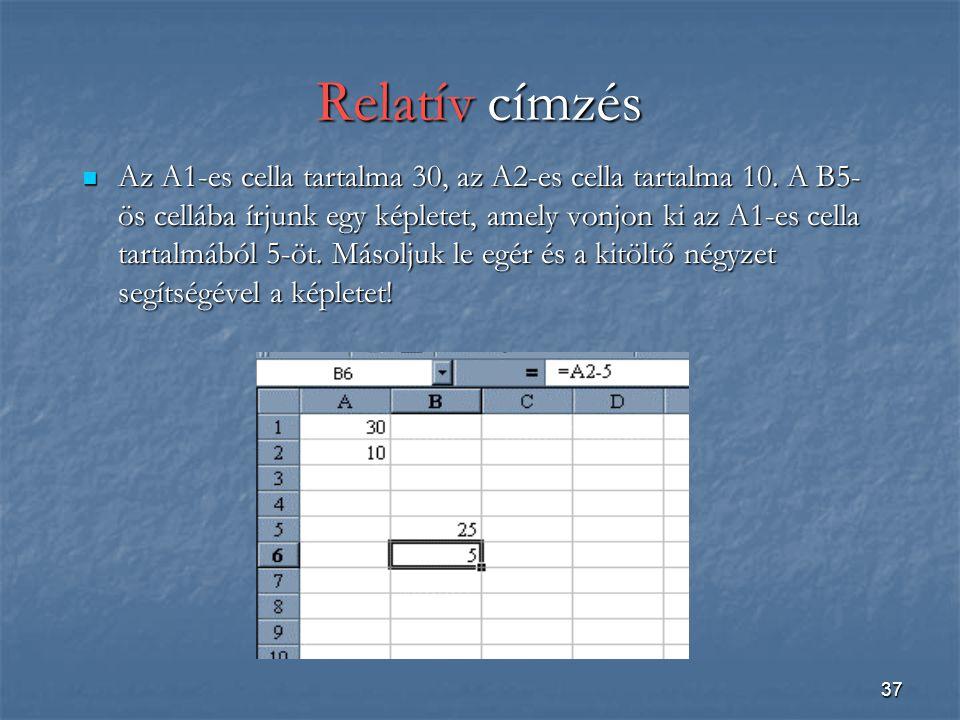 37 Relatív címzés Az A1-es cella tartalma 30, az A2-es cella tartalma 10.