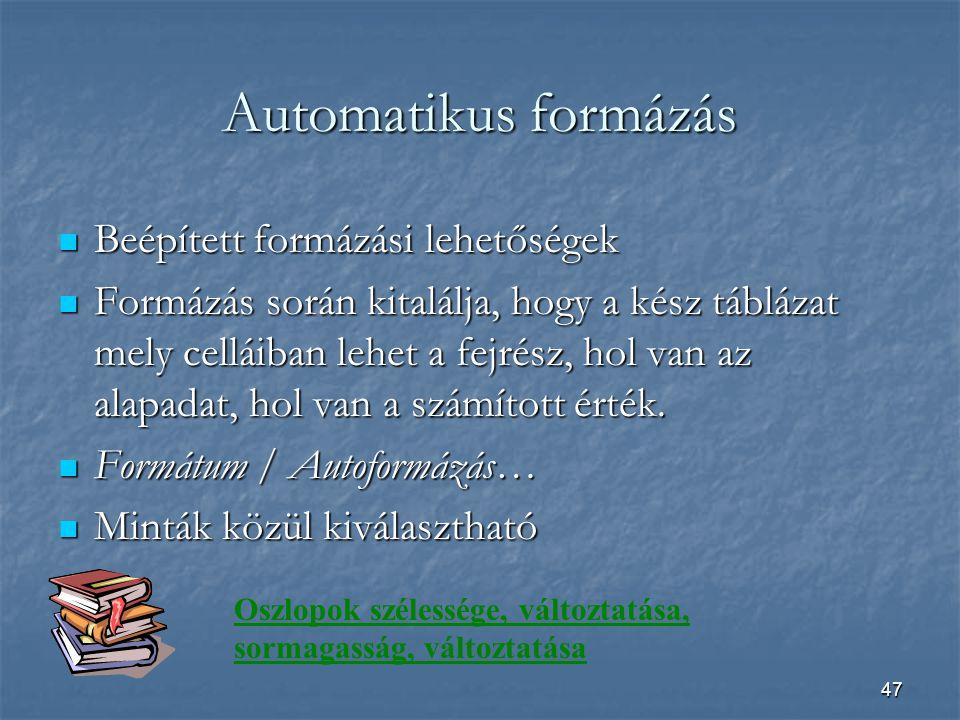 47 Automatikus formázás Beépített formázási lehetőségek Beépített formázási lehetőségek Formázás során kitalálja, hogy a kész táblázat mely celláiban lehet a fejrész, hol van az alapadat, hol van a számított érték.
