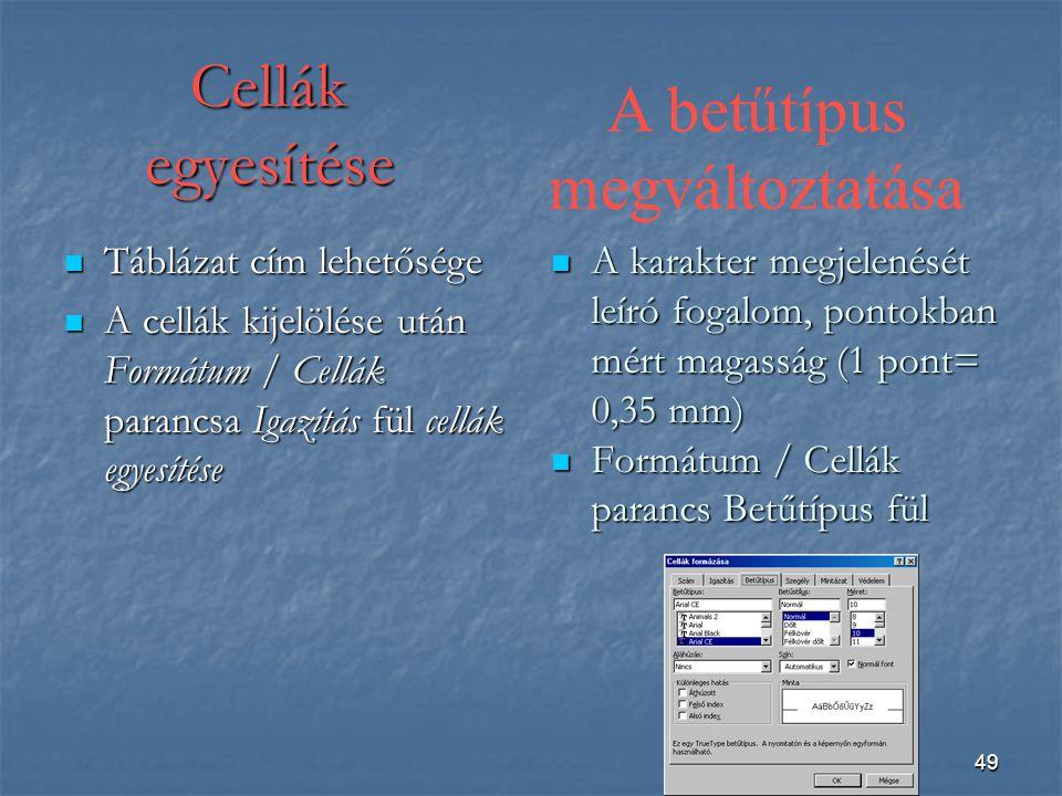 49 Cellák egyesítése Táblázat cím lehetősége Táblázat cím lehetősége A cellák kijelölése után Formátum / Cellák parancsa Igazítás fül cellák egyesítése A cellák kijelölése után Formátum / Cellák parancsa Igazítás fül cellák egyesítése A karakter megjelenését leíró fogalom, pontokban mért magasság (1 pont= 0,35 mm) A karakter megjelenését leíró fogalom, pontokban mért magasság (1 pont= 0,35 mm) Formátum / Cellák parancs Betűtípus fül Formátum / Cellák parancs Betűtípus fül A betűtípus megváltoztatása