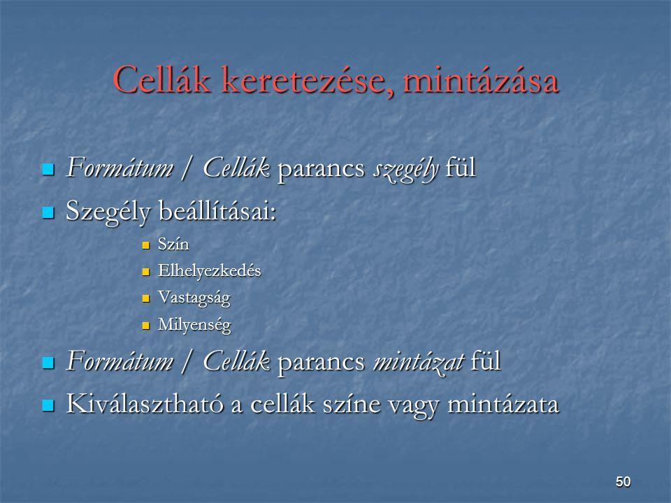 50 Cellák keretezése, mintázása Formátum / Cellák parancs szegély fül Formátum / Cellák parancs szegély fül Szegély beállításai: Szegély beállításai: Szín Szín Elhelyezkedés Elhelyezkedés Vastagság Vastagság Milyenség Milyenség Formátum / Cellák parancs mintázat fül Formátum / Cellák parancs mintázat fül Kiválasztható a cellák színe vagy mintázata Kiválasztható a cellák színe vagy mintázata