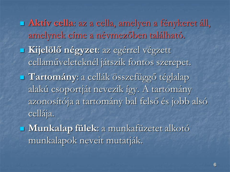 6 Aktív cella: az a cella, amelyen a fénykeret áll, amelynek címe a névmezőben található.