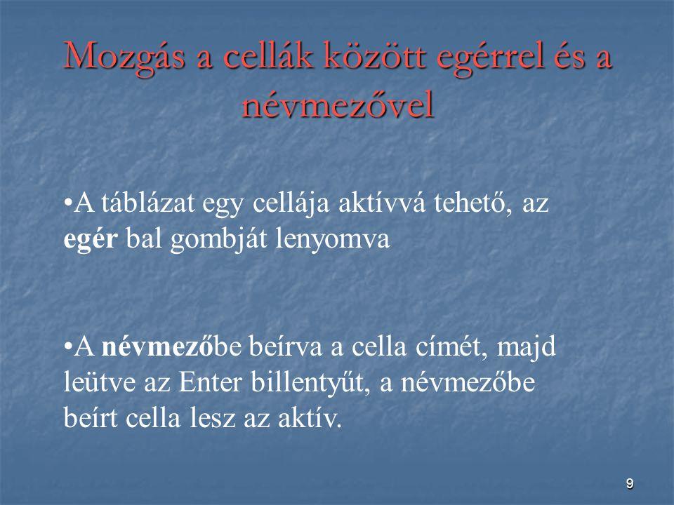 9 Mozgás a cellák között egérrel és a névmezővel A táblázat egy cellája aktívvá tehető, az egér bal gombját lenyomva A névmezőbe beírva a cella címét, majd leütve az Enter billentyűt, a névmezőbe beírt cella lesz az aktív.