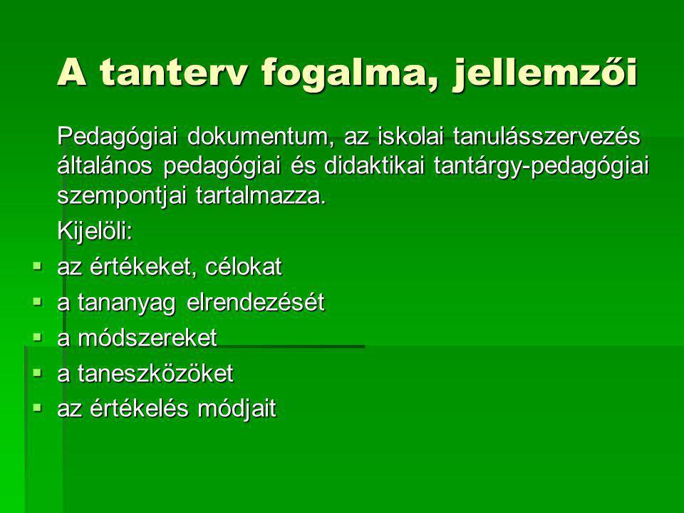 A tanterv fogalma, jellemzői Pedagógiai dokumentum, az iskolai tanulásszervezés általános pedagógiai és didaktikai tantárgy-pedagógiai szempontjai tar