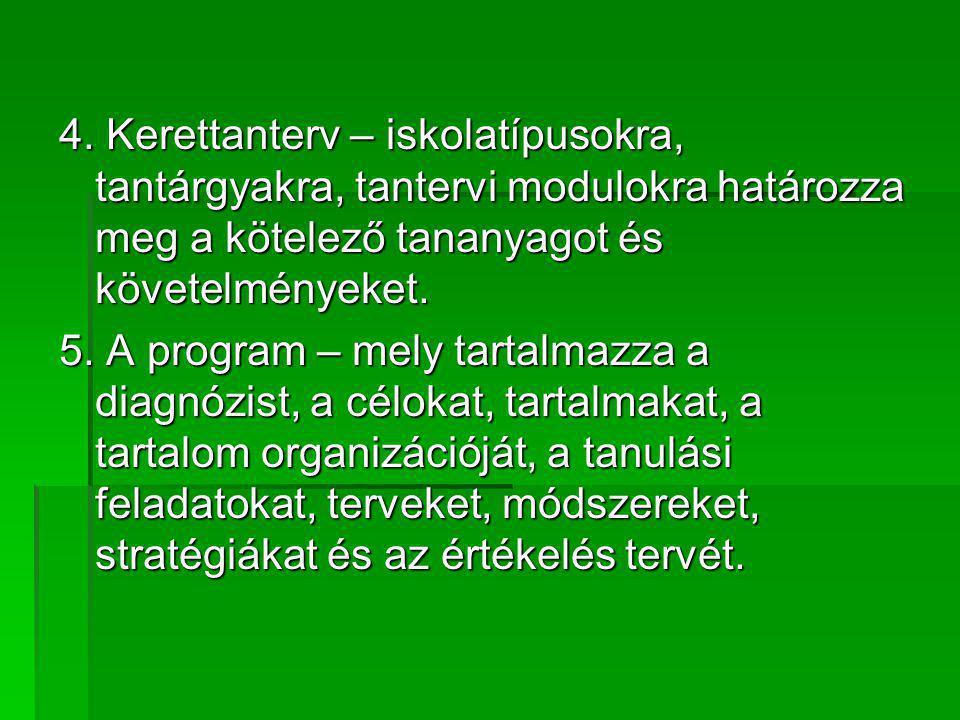4. Kerettanterv – iskolatípusokra, tantárgyakra, tantervi modulokra határozza meg a kötelező tananyagot és követelményeket. 5. A program – mely tartal