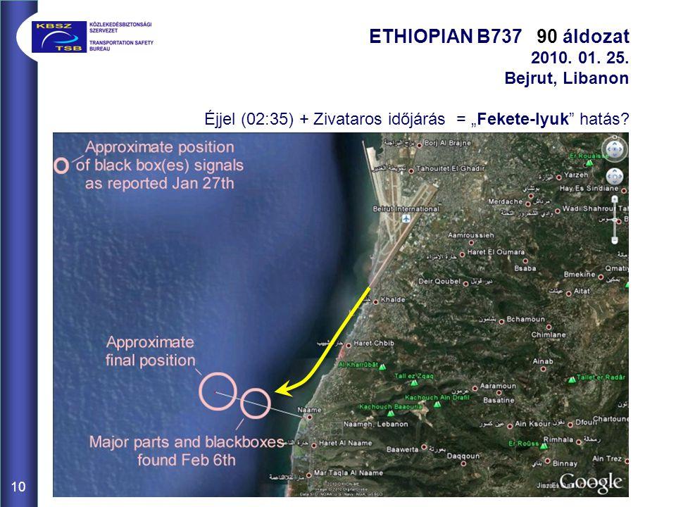 """10 ETHIOPIAN B737 90 áldozat 2010. 01. 25. Bejrut, Libanon Éjjel (02:35) + Zivataros időjárás = """"Fekete-lyuk"""" hatás?"""