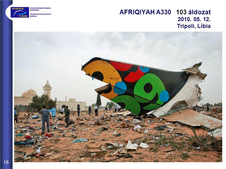 15 AFRIQIYAH A330 103 áldozat 2010. 05. 12. Tripoli, Líbia