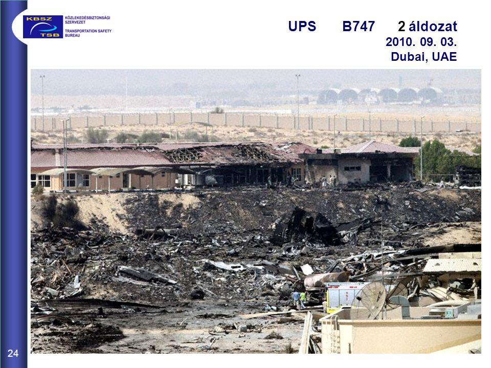 24 UPS B747 2 áldozat 2010. 09. 03. Dubai, UAE Csomagtér TŰZ– Visszaszállás – Füst a kabinban – Magas bejövetel (4000')