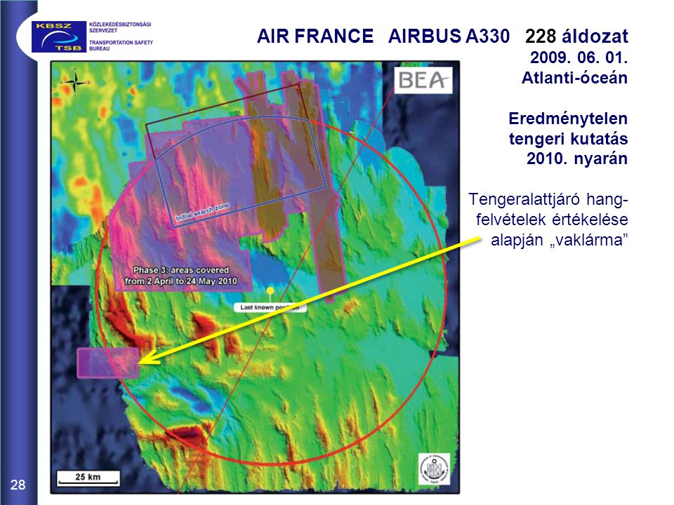 28 AIR FRANCE AIRBUS A330 228 áldozat 2009. 06. 01. Atlanti-óceán Eredménytelen tengeri kutatás 2010. nyarán Tengeralattjáró hang- felvételek értékelé