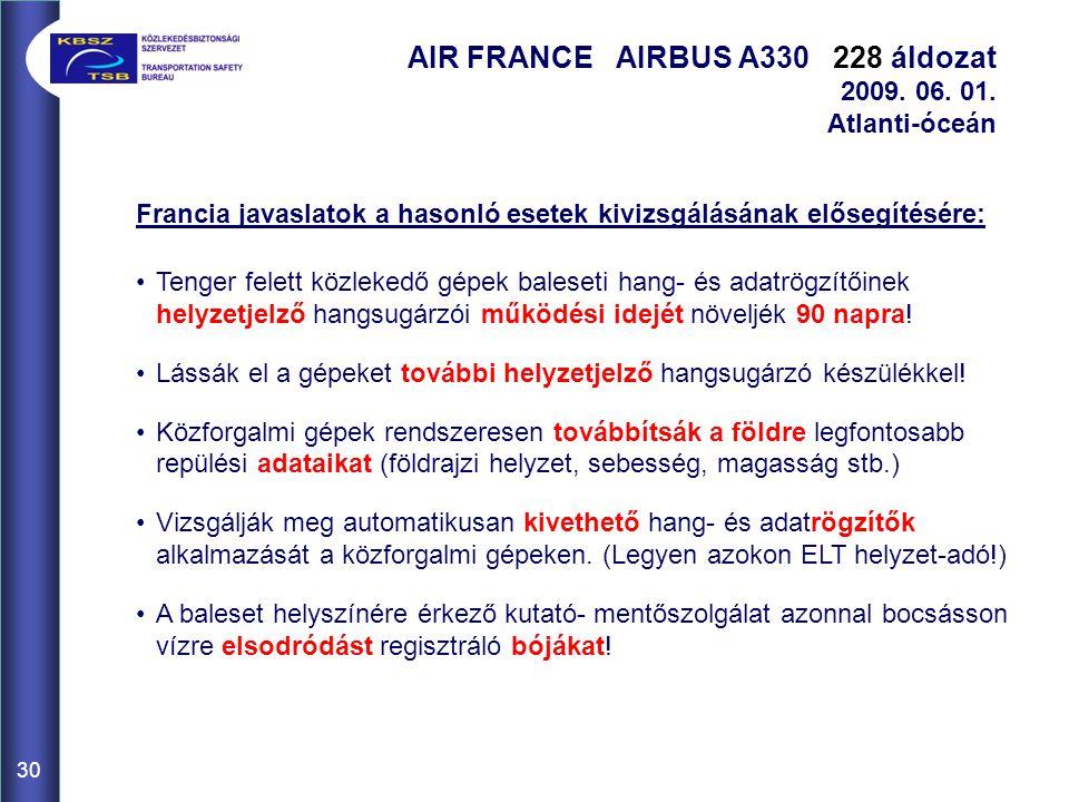 30 AIR FRANCE AIRBUS A330 228 áldozat 2009. 06. 01. Atlanti-óceán Francia javaslatok a hasonló esetek kivizsgálásának elősegítésére: Tenger felett köz