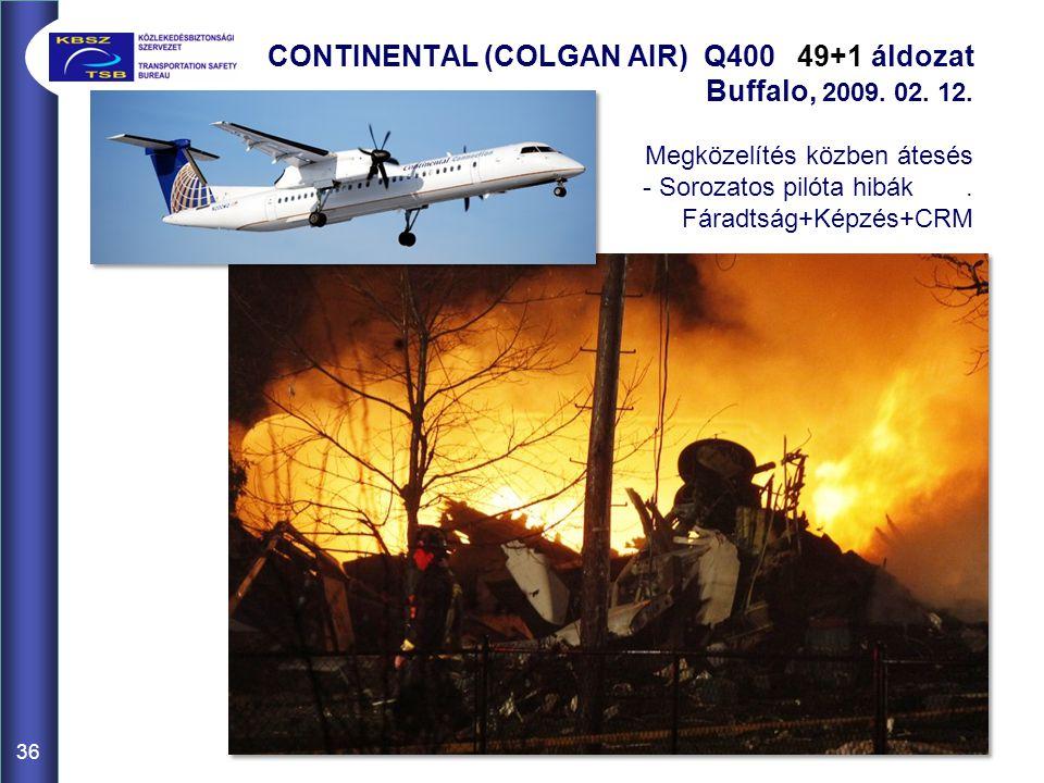 36 CONTINENTAL (COLGAN AIR) Q400 49+1 áldozat Buffalo, 2009. 02. 12. Megközelítés közben átesés - Sorozatos pilóta hibák. Fáradtság+Képzés+CRM