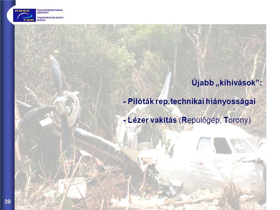 """39 Újabb """"kihívások"""": - Pilóták rep.technikai hiányosságai - Lézer vakítás (Repülőgép, Torony)"""