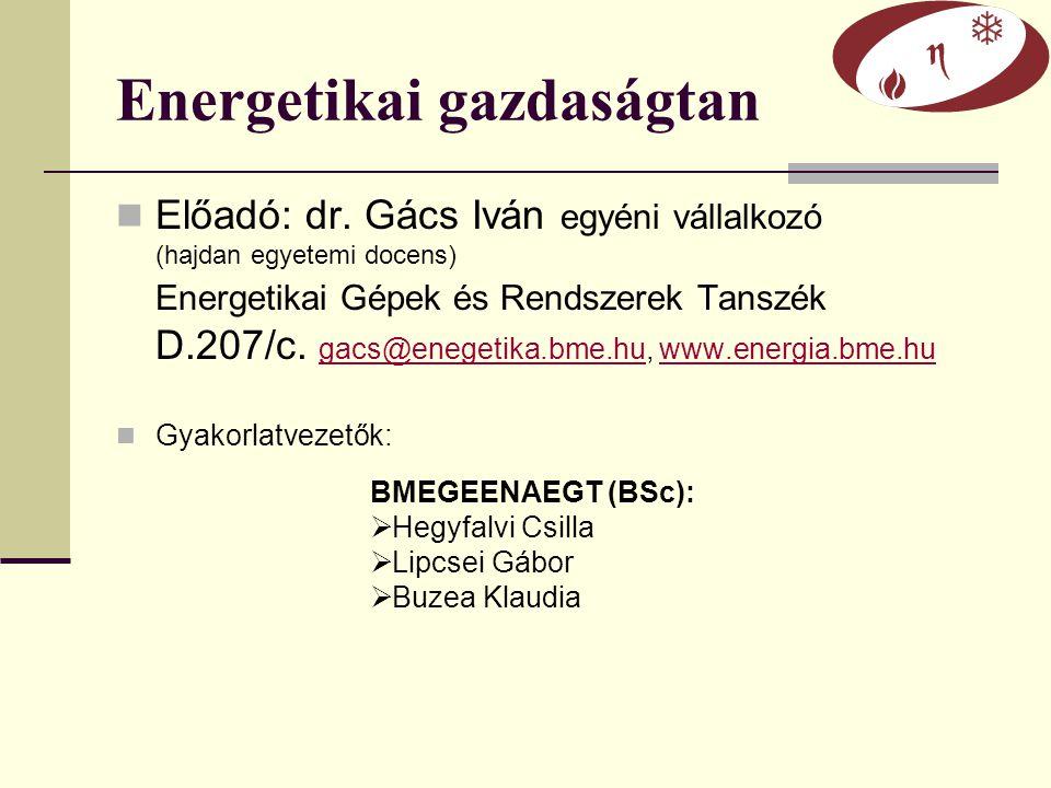 Energetikai gazdaságtan Előadó: dr. Gács Iván egyéni vállalkozó (hajdan egyetemi docens) Energetikai Gépek és Rendszerek Tanszék D.207/c. gacs@enegeti