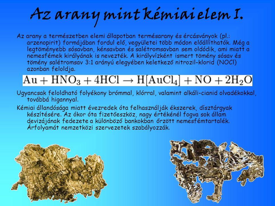 Az arany mint kémiai elem I.