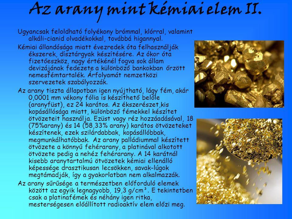 Az arany mint kémiai elem II.