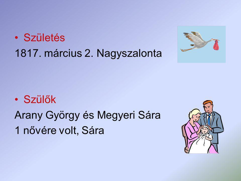 Születés 1817. március 2. Nagyszalonta Szülők Arany György és Megyeri Sára 1 nővére volt, Sára