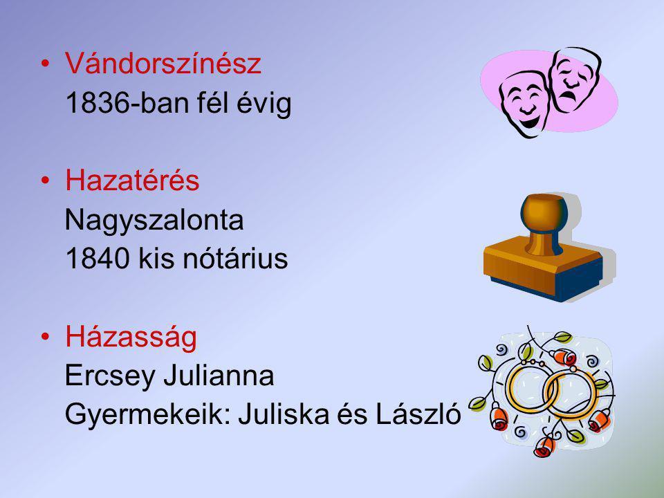 Vándorszínész 1836-ban fél évig Hazatérés Nagyszalonta 1840 kis nótárius Házasság Ercsey Julianna Gyermekeik: Juliska és László