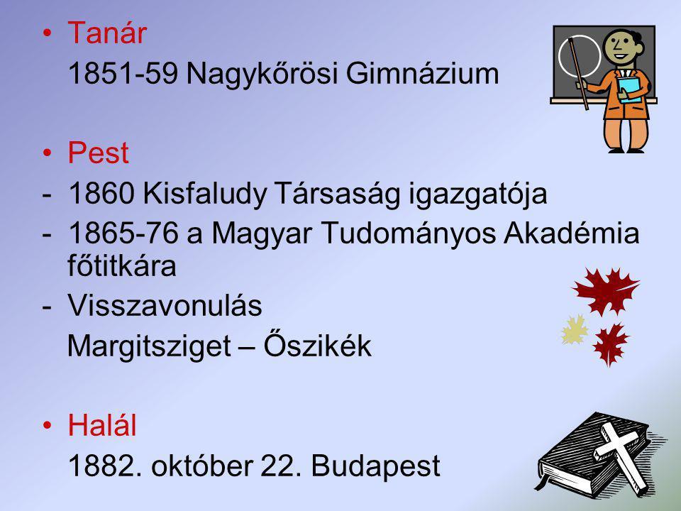 Tanár 1851-59 Nagykőrösi Gimnázium Pest -1860 Kisfaludy Társaság igazgatója -1865-76 a Magyar Tudományos Akadémia főtitkára -Visszavonulás Margitszige