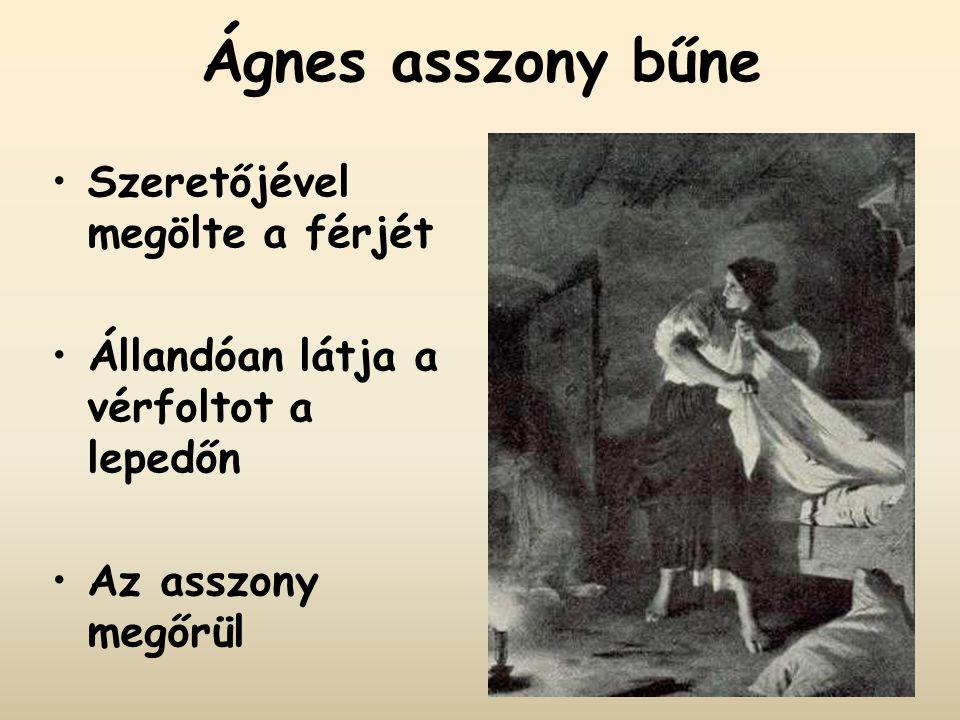 Ágnes asszony bűne Szeretőjével megölte a férjét Állandóan látja a vérfoltot a lepedőn Az asszony megőrül