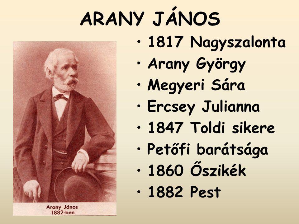 ARANY JÁNOS 1817 Nagyszalonta Arany György Megyeri Sára Ercsey Julianna 1847 Toldi sikere Petőfi barátsága 1860 Őszikék 1882 Pest