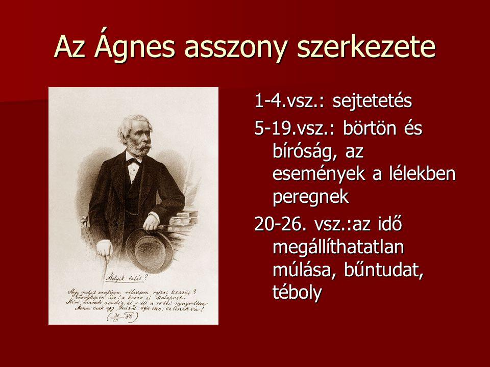 Az Ágnes asszony szerkezete 1-4.vsz.: sejtetetés 5-19.vsz.: börtön és bíróság, az események a lélekben peregnek 20-26.