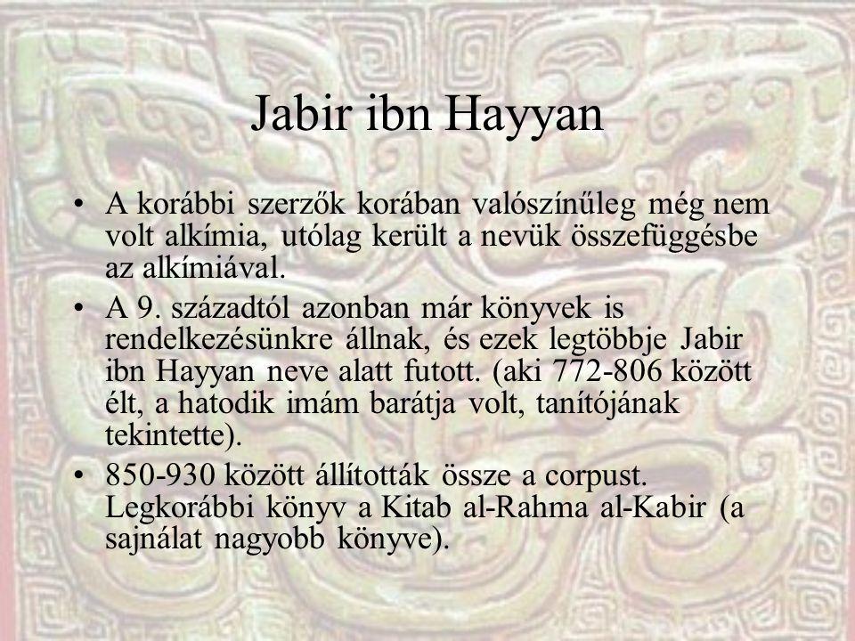 Jabir ibn Hayyan A korábbi szerzők korában valószínűleg még nem volt alkímia, utólag került a nevük összefüggésbe az alkímiával.