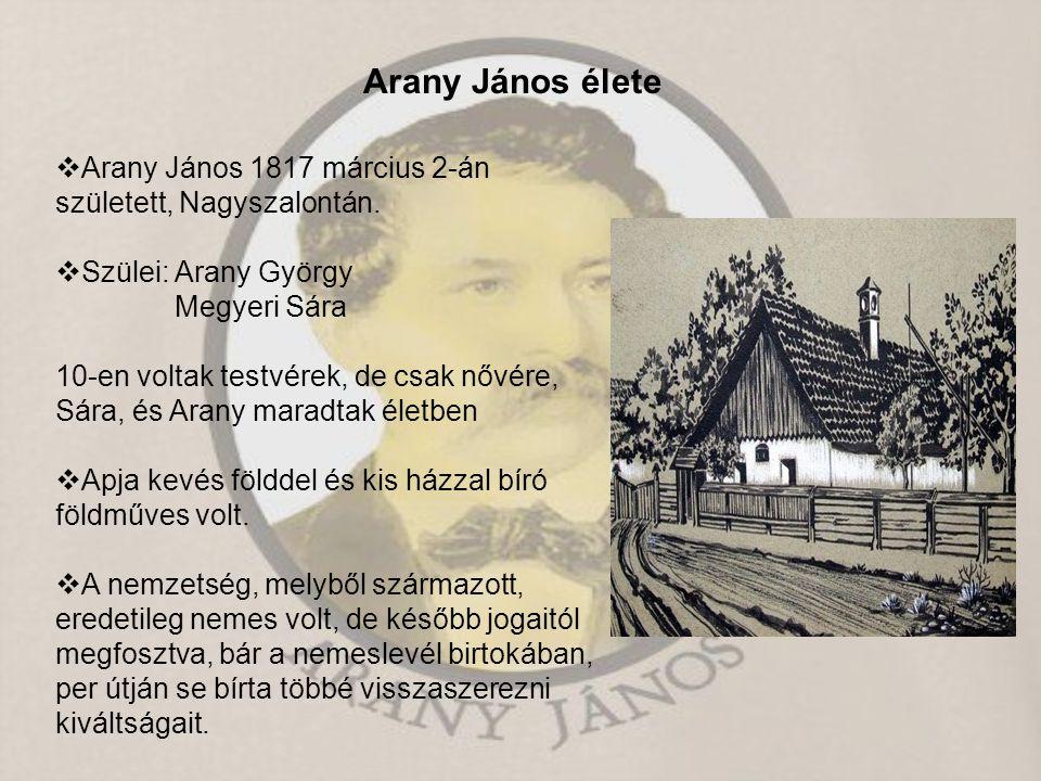  Arany János 1817 március 2-án született, Nagyszalontán.  Szülei: Arany György Megyeri Sára 10-en voltak testvérek, de csak nővére, Sára, és Arany m
